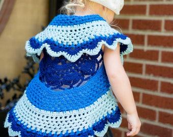 Girls crochet sweater - Mandala sweater - infant sweater- Spring sweater - circle sweater - baby sweater - toddler sweater-  - crochet shrug