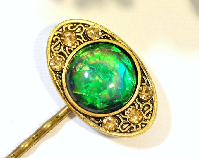 Dragon Eye Bobby Pin Green Hair Pin Dragon Jewelry Gold Green Hair Pins