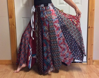 Long Red Silk Skirt/Womens Plus Size/Upcycled Clothes/Recycled Necktie Skirt/Repurposed Clothing Made from Ties/One Size fits XL,1X,2X