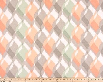 Peach Green Curtains, Pair Rod Pocket panels, Premier Prints Finley Mojave Sundown, Pastel Green Pink Gray, Choose Size