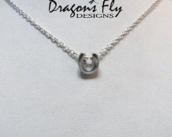 Horse Shoe Necklace Sterling Silver Horseshoe Charm Horseshoe Pendant Chain Cable