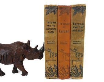 3 Vintage Books | TARZAN 1924 Book Stack | Antique Books | Tarzan And The Ant Men | Home Staging Jungle Decor | Orange Green Tan Hardcovers