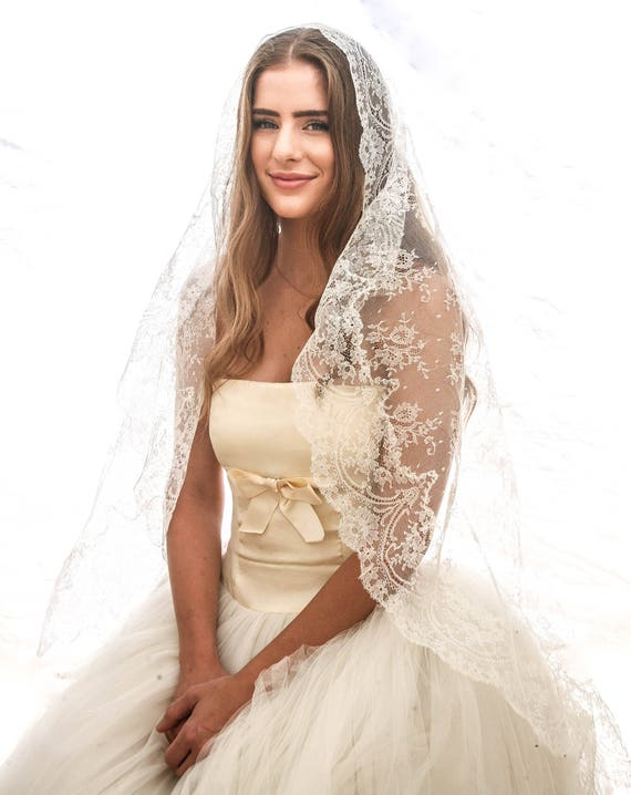 Long Vintage Lace Mantilla Wedding Veil Made In Spain