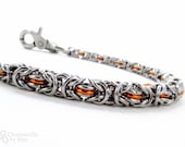 Chainmaille Wallet Chain - Orange - Graduated Byzantine (Thick to Thin)