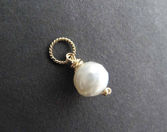 Gold Pearl Charm, June Birthstone Gift, Faceted White Pearl Pendant, Gemstone Charm, Dainty Birthstone Charm (silver or 14k gold filled)