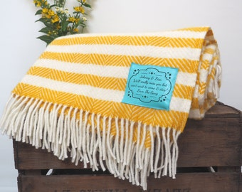 Yellow and white striped throw, personalised throw, personalised wedding gift, large throw, leaving gift, leaving present, anniversary