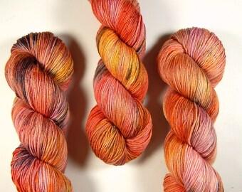 Hand Dyed Yarn - Sock Weight Superwash MCN (Merino Wool / Cashmere / Nylon) Yarn - Potluck OOAK - Speckled Knitting Yarn, Pink Peach Black