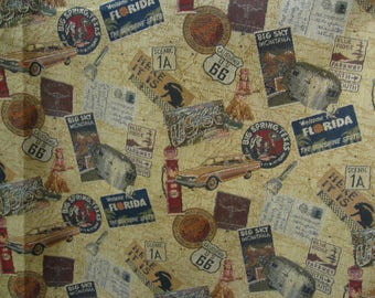 """56 """"Get Your Kicks on Rte 66"""" Vint Travel Tapestry// Bambi, FLA, Big Spring, Big Sky, Scenic 1A, CA, TX Patches Red, Blue, Gold, Tan Grnd"""