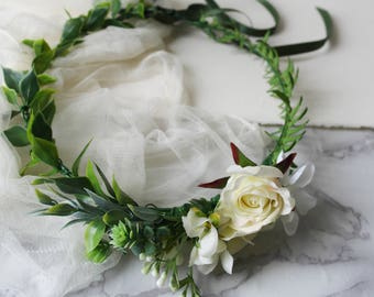 Boho flower crown, simplistic flower crown, natural hair wreath, ivory flower halo, fern flower crown, ivory crown, rose hair wreath, halo