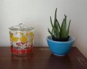 Vtg ANCHOR HOCKING 50's Glass Nursery Bunny Lamb Ducks Chicks Tulip Canister Jar
