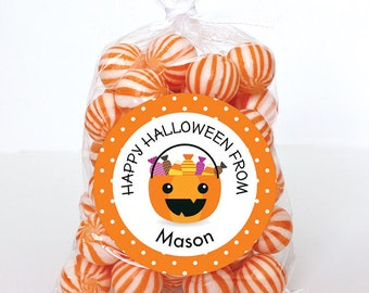 Halloween Stickers - Halloween Treat Pail on Orange Polka Dots - Sheet of 12 or 24