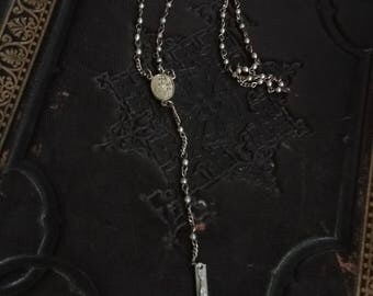 Unique Antique silver delicate Inverted Crucifix Black Mass Rosary necklace