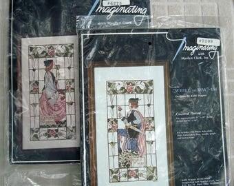 Cross Stitch Kits Gather Ye Rosebuds Man Woman Windows Two Unopened Vintage 1980s Imaginating