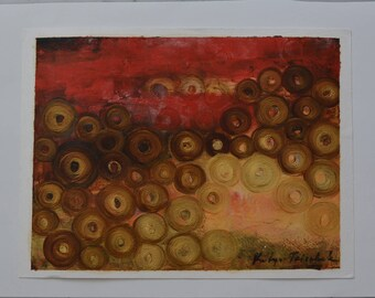 """Abstracts 12x16"""" red and gold painting gift for Indian wedding"""