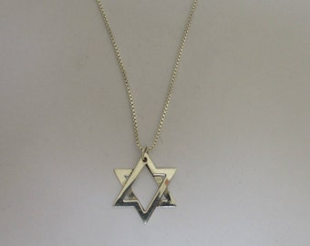 Classic and Beautiful Star of David Necklace, Sterling Silver Pretty Star Necklace, Judaica Star Silver Necklace Mens and Womens Jewish Star