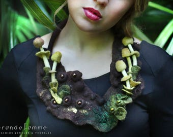 Hand Felted Necklace, Wildwood | Wearable Art in Harmony With Nature