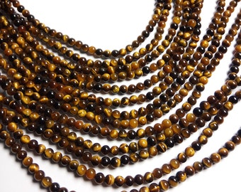 Tiger eyes - 6 mm round beads -1 full strand - 63 beads - A quality - RFG1355