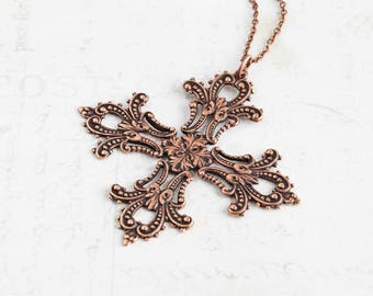 Large Antiqued Copper Plated Filigree Cross Pendant Necklace on Simple Chain