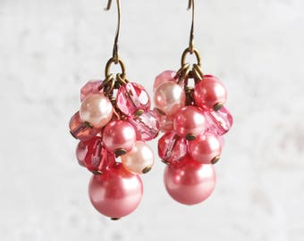 Strawberry Pink Beaded Cluster Earrings in Antiqued Brass