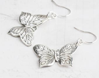 Simple Antiqued Silver Plated Butterfly Dangle Earrings