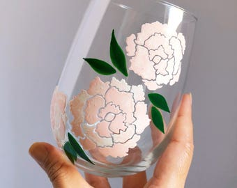 Peony Flowers Hand Painted Wine Glass