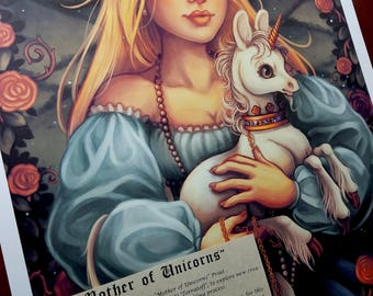 Mother of Unicorns- Swarovski Crystal and Silver WC Embellished Limited Giclee Print