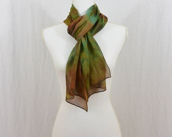 Hand Painted Chiffon Silk Scarf, Gift for Her, One of a Kind, Earthy, Boho, Hippie, Mori Girl, Artsy, Watercolor Scarf, Abstract Scarf