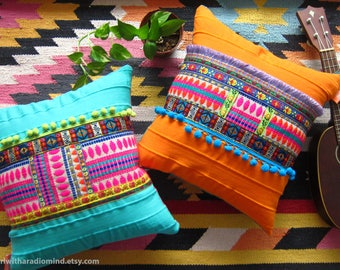 Bohemian Pillow Twin Set - Mexican Vibrant Boho Accent Pillow Orange and Turquoise Blue - Set of 2 - 16x16 inches