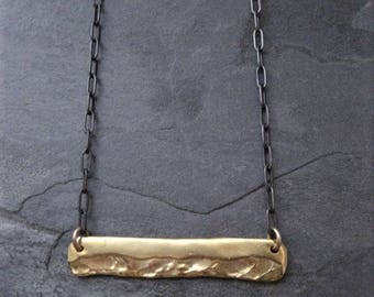 Bar necklace, horizontal pendant, mixed metal, gold bar, oxidized chain, black and gold, straight bar, organic jewelry