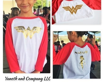 Wonder Woman Girls Birthday Raglan,Wonder Woman Birthday Girl Shirt,Wonder Woman girls raglan,Custom Wonder Woman birthday shirt for girls
