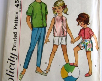 Easy Sew Girls Shirt and Pants in Two Lengths Size 10 Vintage 1960s Simplicity Pattern 4458 UNCUT