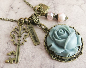 Grey rustic flower necklace, romantic necklace, key necklace, brass jewelry, gift for her, bronze vintage style necklace