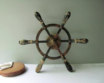 Vintage Boat Wheel Ship Yacht Steering Wheel Helm Bronze Spokes Wood Handles & Drum Nautical Decor Rustic Wedding Beach Ocean Cottage Art