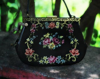 Mary Poppins Needle Point Purse, Tapestry Handbag,Black, Leather Handle