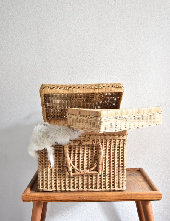 mid century woven wicker rattan picnic basket with handle