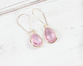 Rose Gold Pink Earrings, Bridesmaid Earrings, Minimalist Earrings, Stone Earrings, Dainty Earrings,Bridesmaid jewelry,Gifts under 25,Wedding