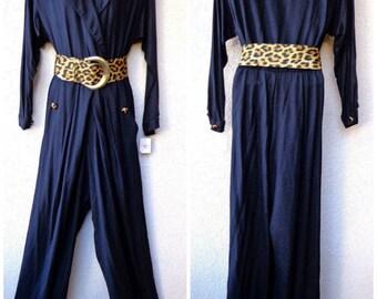 1980s JUMPSUIT. Black Jumpsuit. Belted Jumpsuit. Minimalist Jumpsuit. One Piece Pantsuit. Animal Print Accents. Wide Leopard Print Belt. M