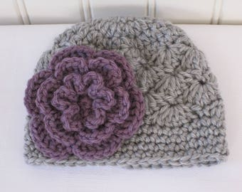 Baby Hat - Crochet Hat - Girl Hat - Toddler Hat - Newborn Hat - Baby Girl Hat - Winter Hat - Light Grey Hat - Gray Hat & Dusty Purple Flower