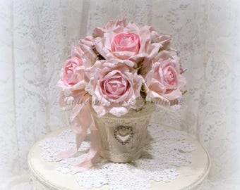 Shabby Chic Roses, Floral Arrangement, Rose Arrangement, Shabby Chic Decor, Shabby Pink Roses, Cottage Chic Decor, Potted Roses