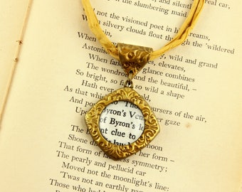 Byron - Literature Necklace - Lord, Poet, Author, Poem, Romantic - Silver, Gold