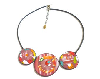 Red Multicolored Necklace, colorful circle beads, wearable art for her, artisan necklace, polymer clay unique design, gift idea for women
