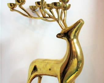 "Brass Deer Candelabra Statue, Vintage 20"" Large Standing Buck 10 Point Figurine, Woodland Holiday Hearth, Floor Decor, Williams Sonoma 1997"