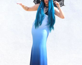 Gothic Dress - Mermaid Blue Dress - Steampunk Gothic Dress - Halloween Dress