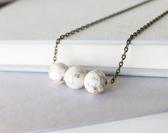 White Magnesite Necklace - White Gemstone Necklace - Gemstone Bar Necklace - Boho  Jewelry - Gemstone Boho Necklace - White Gemstone Jewelry