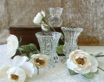 Lot Of 3 Small Pressed Glass And Cut Glass Vases - Some With Etching