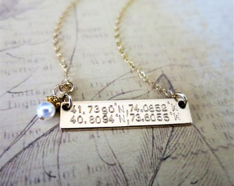 Custom Coordinate Necklace - 14k Gold Fill Bar Necklace - Latitude Longitude Jewelry - Gold Bar Necklace - Horizontal Gold Bar - Personalize