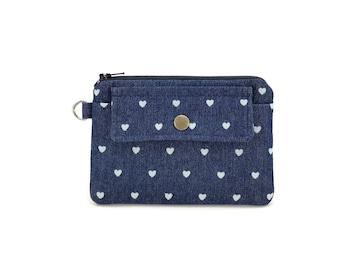 Coin Purse - Heart Purse - Denim Pouch - Denim Zipper Pouch - Keychain Wallet - Snap Pouch - gift under 15 dollar - Padded Pouch