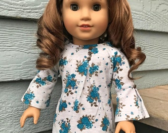Teal Floral on Gray - Bell sleeve knit dress for 18 inch dolls