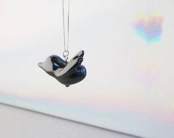 Ceramic Bird Necklace, Bird Pendant, Animal Jewelry, Bird Jewelry, Minimalist Necklace, Ceramic Necklace, Birthday Gift, Gift for Her, Lucky