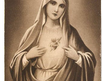 Immaculate Heart of Mary Antique Vintage French Holy Prayer Card, Catholic, Monochrome